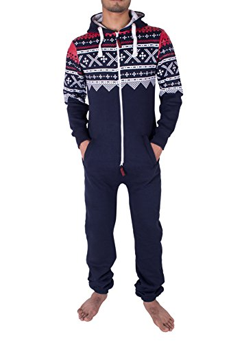 Noroze Mens Hoodie Jumpsuit Onesie One Piece Pajamas (Large, Aztec -