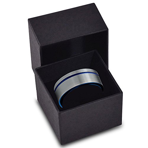 Charming Jewelers Tungsten Wedding Band Ring 8mm for Men Women Blue Grey Offset Line Flat Cut Brushed Size 8 by Charming Jewelers (Image #3)