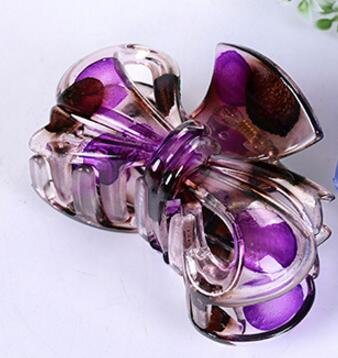 Girls Hair 8cm transparent Clip For Women Transparent Hair Bows Hairpins Girls Hair Accessories (Purple)