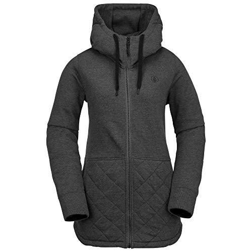 Volcom Women's Winrose Pullover Baselayer Hooded Fleece Snow Sweatshirt, Vintage Black, Large