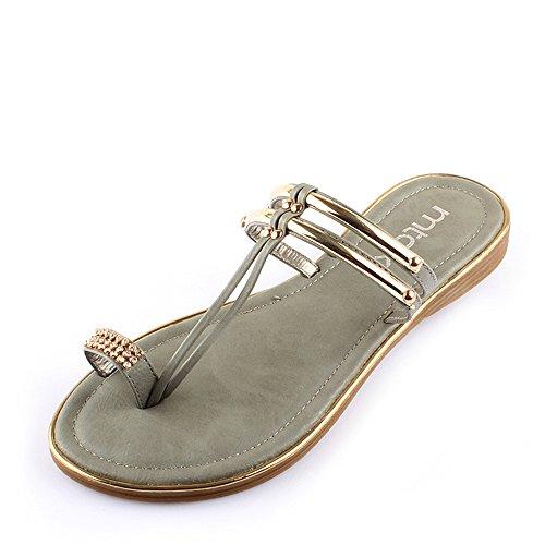Donne Le Estate Pu Per Haizhen Eu39 Pantofole Nero Casual Da Scarpe 5 Grigio Donna cn40 colore Dimensioni uk6 Sandali Grigio 7gXPA