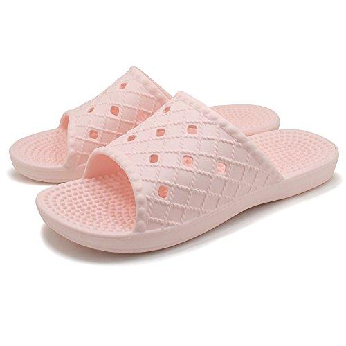 KENROLL Dusch Badeschuhe Sommerurlaub Schuhe Zehentrenner Strandschuhe Flip Flops für Herren für Damen Rosa