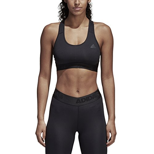 (adidas Don't Rest Alphaskin Badge of Sport Sports Bra, Black, Medium)