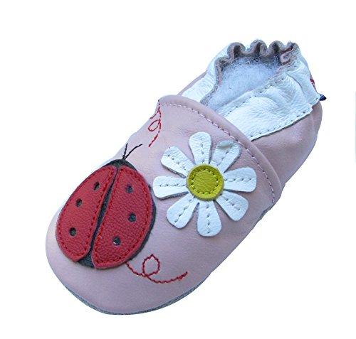 Carozoo Shoeszoo Ladybug Flower Pink little Soft sole leather infant crib shoes Photo #2