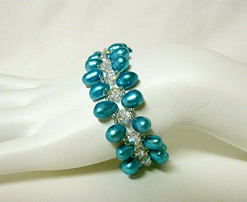 Teal top drilled rice pearl and Swarovski crystal bracelet with fold over magnetic clasp - (Rice Pearl Swarovski Bracelet)