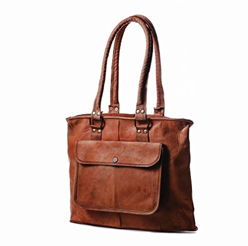 Handmade brown Vintage styled genuine Leather tote shoulder handbag shopping weekender travel carry on purse with zipper with outside pocket womens ba…