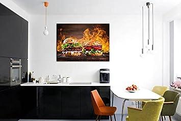 Hamburger Téléphone Impression Sur Toile Nourriture Salle à Manger Décor  Fruits Art Décoration Murale Multi Panel ...