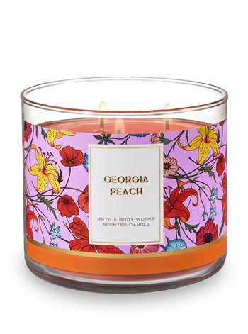 Bath and Body Works 3 Wick Scented Candle Georgia Peach 14.5 Ounce