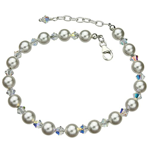 (Joyful Creations Sterling Silver Ankle Bracelet, Simulated Pearls Made with Swarovski Crystals 9