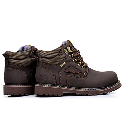 rismart Mens Comfort Hardwearing Working Ankle Boots Good Quality Combat Boots Motorcycle Boots Warm Fur Lined Coffee 757 US10 I5jqAk3O9v