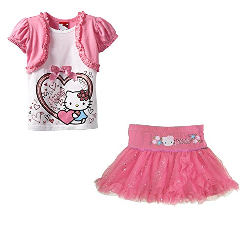 Hello Kitty Tutu Outfit (Camille Cabin Baby Girl Ruffles Cartoon Printed Clothes Tutu Skirt Outfits P100)