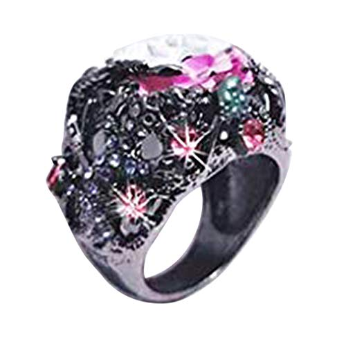 Fashionhe Rose Band Rings Diamond Red Promise Rings Zircon Pierced Ladies Ring Jewelry Accessories(Multicolor.7)