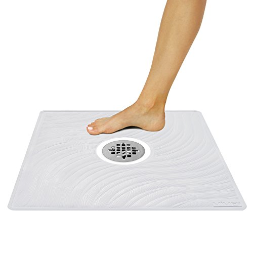 Vive Shower Mat Non Slip Large Square Bath Mat For