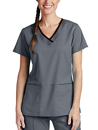 Active by Grey's AnatomyTM Women's Print Inset V-Neck Solid Scrub Top Granite/Black (Inset V-neck)