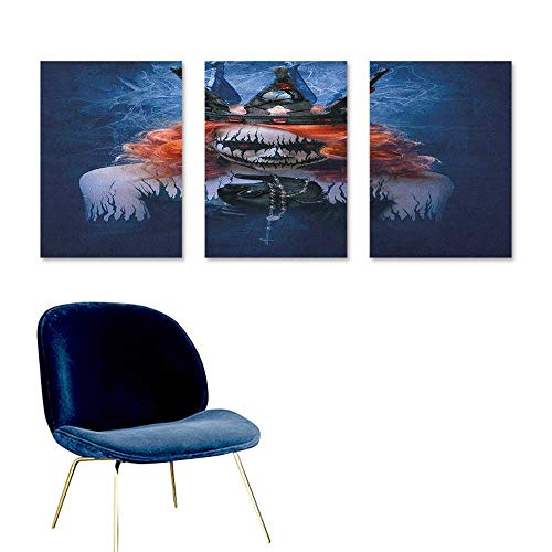 Agoza Queen Original Oil Painting Queen of Death Scary Body Art Halloween Evil Face Bizarre Make Up Zombie Office Art Decoration 3 Panels 16x24inch Navy Blue Orange Black ()