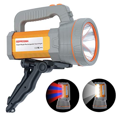 Super Bright Rechargeable Spot Lights Hand Held Searchlight CREE LED Spotlight Flashlight Handhel High Powered Lumens Large Battery 10000mah Outdoor Torch Flood light Camping Lantern Waterproof Boat