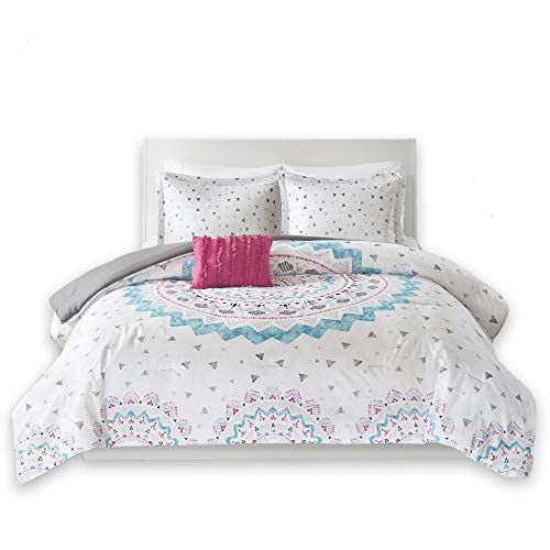 Comfort Spaces – Ari Comforter Set – 4 Piece – White/Pink/Teal/Blue – Printed Multi-Color Grandiose Medallion Design with Solid Grey Reverse – Full/Queen – 1 Comforter, 2 Shams, 1 Decorative Pillow