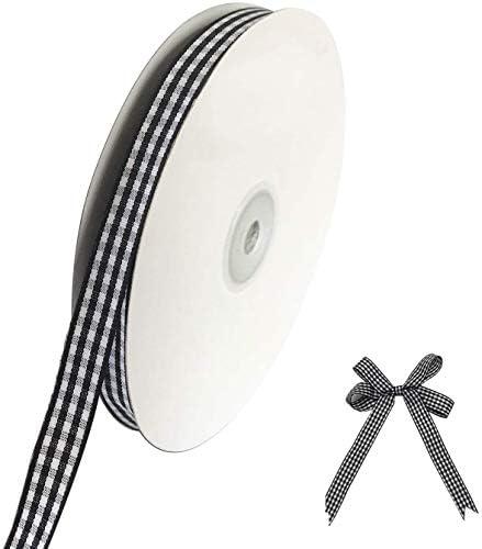 """レッドギンガムリボン, 1/4"""" チェック柄チェック柄リボン 50ヤード 黑と白の格子 ギフト包装 服装アクセサリー"""