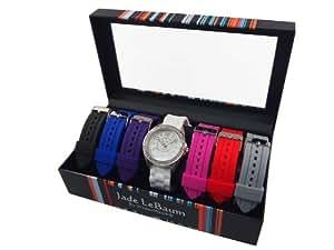 Womens Watch Set Seven Interchangeable Silicone Straps Crystal Bezel Designer Jade LeBaum Ladies Wrist Watch - JB202750G