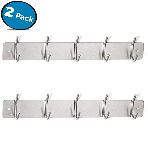 LVKH Metal Coat Rack - Wall-Mounted Set (2 Pack, 5 Hooks Each)