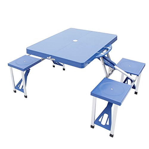 Kinbor Aluminum Portable Folding Camping Outdoor Kids Picnic Party Table Garden BBQ Chairs w/4 Seats, Blue/Green (Blue) For Sale
