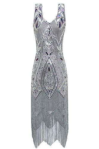 Metme Women's 1920s Vintage Flapper Fringe Beaded Great Gatsby Party Dress Grey Silver
