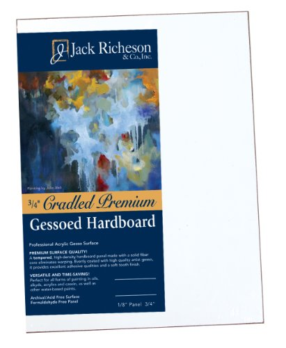 Jack Richeson 1521212 3/4-Inch Premium Tempered Gessoed Hardboard Panel, 12 by 12-Inch