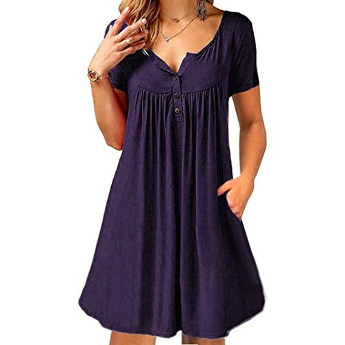 TOOPOOT Women's Summer Dress, 2018 Ladies V-Neck Short Sleeve with Pockets Beach Mini - Marilyn Body Shaper Monroe