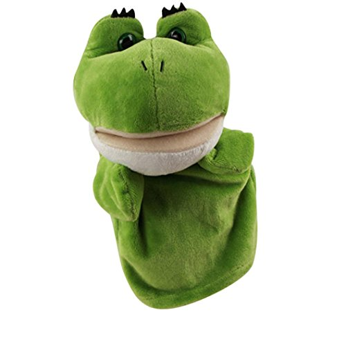E-SCENERY Cute Cartoon Animal Hand Puppets with Working Mouth - Soft Plush Kids Toys for Children, Story Telling Time (Frog) - Puppet Frog Soft