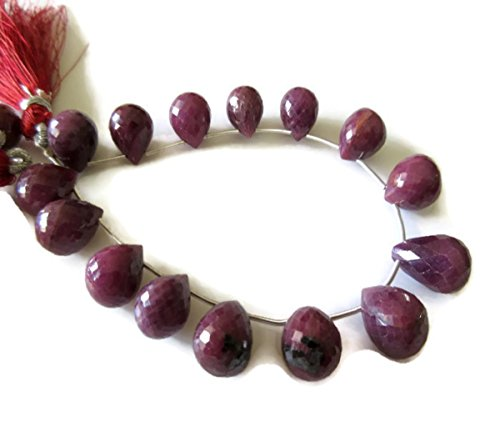 GemsDiamondsbySHIKHA Natural Untreated Red Ruby Tear Drop Briolettes, Faceted Ruby Briolette Beads, 14 Pieces, 10-12mm Approx, GDS713