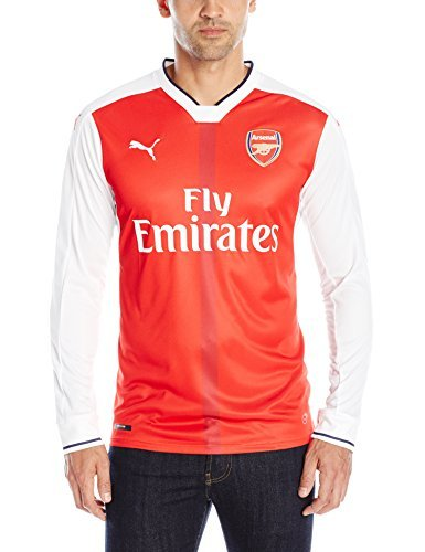 PUMA Men's Standard AFC Ls Home Replica Shirt, High Risk Red/White, Small Arsenal Home Long Sleeve