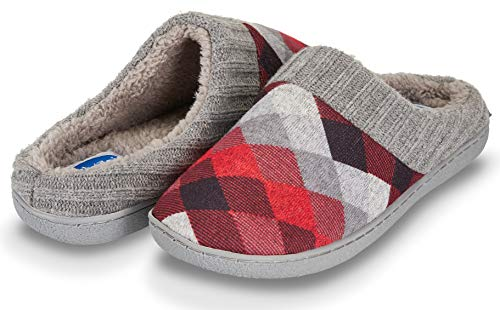 Floopi Womens Indoor Outdoor Argyle Knit Fur Lined & Ribbed Hand-Knit Collar Slipper W/Memory Foam (XL, Red-311) ()