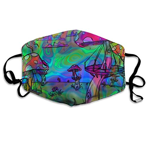 Hypoallergenic Flu Dust Face Mask, Earloop Half Face Mask for Women Men, Hiking Travel Respirator with Adjustable Elastic Band - Psychedelic Trippy Mushroom, Windproof