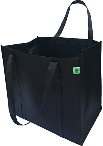 Reusable Grocery Bags (5 Pack, Black) - Hold 40+ lbs - Extra Large & Super Strong, Heavy Duty Shopping Bags - Grocery Tote Bag with Reinforced Handles & Thick Plastic Bottom for Strength Large Grocery Tote