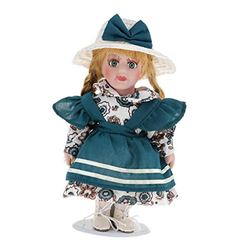(Baoblaze 20cm Vintage Porcelain Little Lady Doll People Collection Figures In Outfit Dollhouse Decoration Gifts Deep)