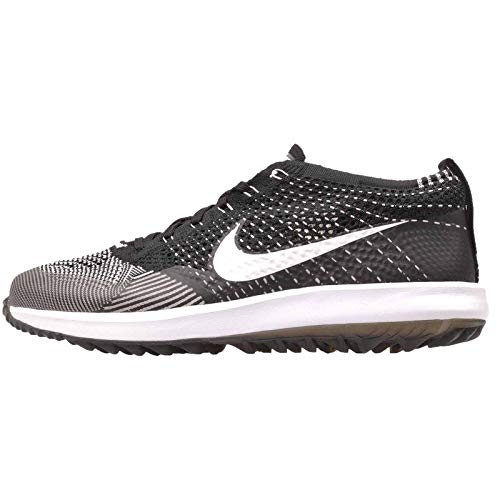 Tiger Golf Shoes - Nike Mens Flyknit Racer G Golf Shoes (12 D(M) US) Black/White