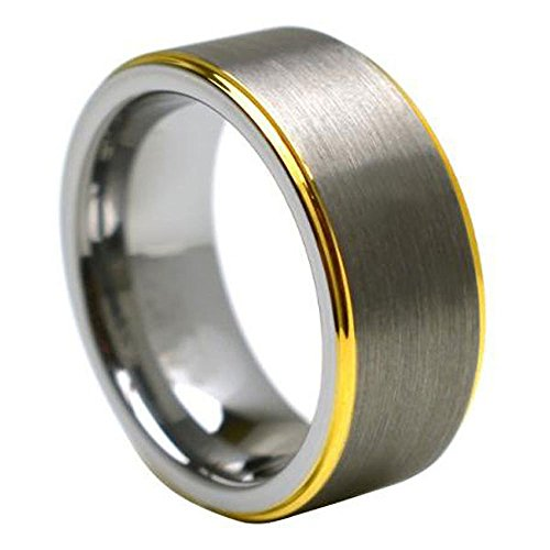 8mm Step Edge Two Toned Gold Plated Tungsten Carbide Wedding Band - Size 15