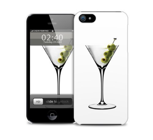 Martini, aceitunas, sacudido, iPhone agitada 5 / 5S cubierta de pl‡stico caja del telŽfono protector