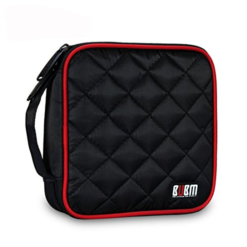 BUBM Car Home Travel Portable 32 Capacity CD/DVD Wallet Case Storage Bag (Black)