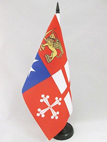 AZ FLAG Bandiera da Tavolo Italia Quattro REPUBBLICHE MARINARE 21x14cm - Piccola BANDIERINA Italiana 14 x 21 cm