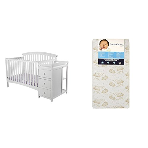 Dream On Me Niko 5 in 1 Convertible Crib with Changer with Dream On Me Spring Crib and Toddler Bed Mattress, Twilight