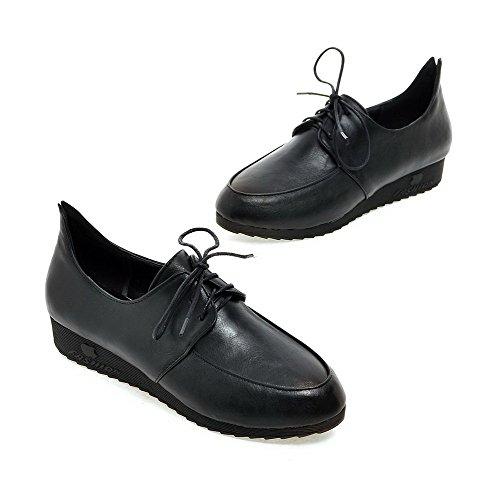 Allhqfashion Dames Veterschoen Ronde Dichte Neus Lage Hakken Pu Assortiment Kleur Pumps-schoenen Zwart