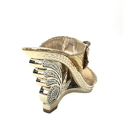 Nuovo Brieten Womens Strass Piattaforma Fibbia Sandali Con Tacco A Spillo In Oro