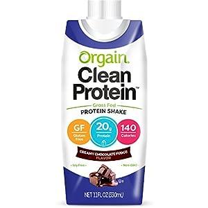 Orgain Grass Fed Protein Shake, Creamy Chocolate Fudge, Gluten Free, Kosher, Non GMO, 11 Ounce, 12 Count