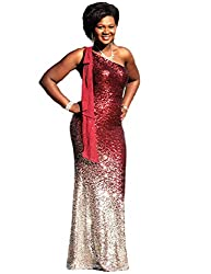 Silver & Red One Shoulder Ombre Sequins Mermaid Dress