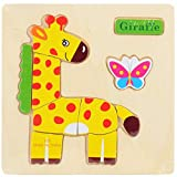 Gbell Wooden Thicker Puzzle Set for Preschool Toddler Boys Girls,Cute Animal Fruits Jigsaw Board...
