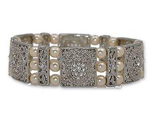 Vintage Retro Estate Jewelry (Large Ornate Silver & Off-White Pearl Bracelet - Bridal Jewelry)