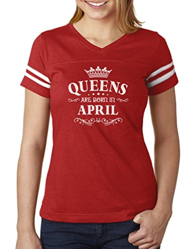 Birthday Gift for Women - Queens are Born in April Women Football Jersey T-Shirt Small ()
