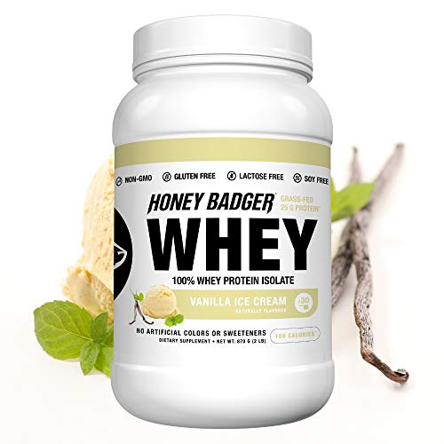 Honey Badger Natural Keto 100% Whey Protein Isolate | Vanilla Ice Cream | Gluten Free Paleo + Amino Acids BCAA Digestive Enzymes | Hydrolyzed Grass-Fed Protein Supplement Sucralose Free | 2 Lbs