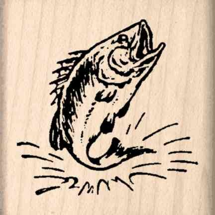 Bass Fish Rubber Stamp - 1-1/2 inches x 1-1/2 inches